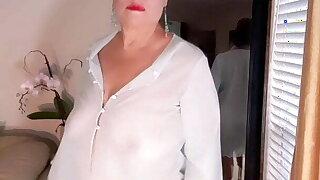 Naked masturbation with dildo! Mature 67 year old Latina woman