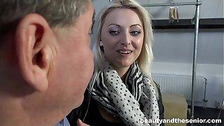 Platinum blonde cutie Katy Rose take an old prick