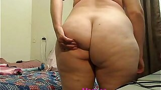 Old mature woman shows off her fat ass - more on TheSexyWebcams.com