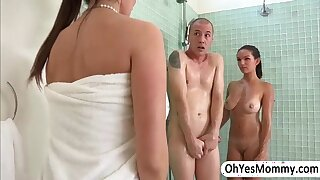 MILF Eva raids inside the shower for a threesome sex with teen Shae