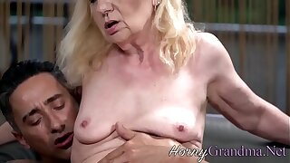 Blonde slutty grandma blows cock