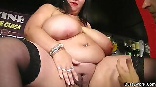 Mega-boobs plumper spreads her legs for job