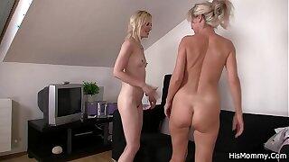 Lesbian mom teaching blonde teen toying