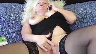 Grandmas pussy stretched with big dildo used by lesbo girl