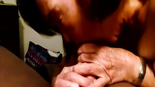 Old, Korean, grandma gives black man a blowjob.