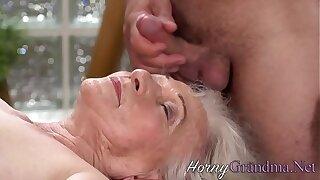 Granny sucks masseurs hard cock