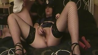 Horny Amateur Granny In Stockings Toys Around With Her Ass