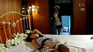 Asian Girl Caught On Masturbating By The Maid Getting Her Hairy Pussy Licked On The Bed