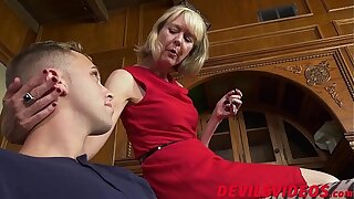 Skinny granny has hardcore sex with young boy toy