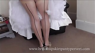 Upskirt and petticoats  64yr old British milf housewife in stockings shows her panties
