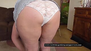 Mature granny in tight white panties