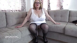 Full length white petticoat and white girdle