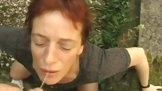 German granny pig-whore Gabriele drinking outside!