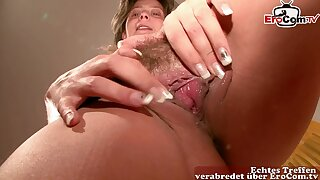 german ugly hairly grandmother show her pussy and masturbate at casting