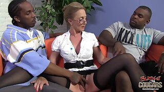 Mature blonde woman, Jenna Covelli cant hold back from having threesomes with handsome, black guys