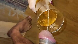 Old whore drinks piss and sucks piss from dick