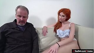 Russian redhead Gisha gives bj to n fucked by old dude