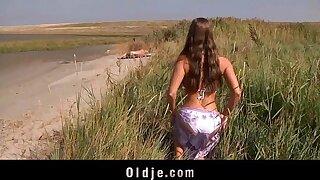 Big boobs teeny fucking oldman on the beach