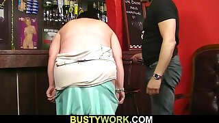 Big-titted woman sex at work