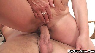 Wife finds her old m. riding his cock!