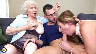 A hairy granny 3some sex goes extremely wild